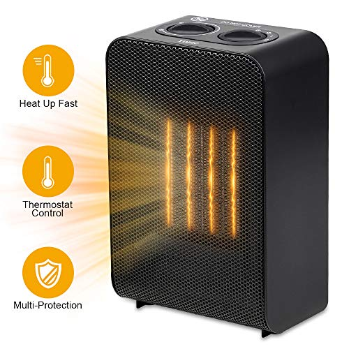 Yome Space Heater, Electric Space Heater with Adjustable Thermostat Ceramic Small Heater