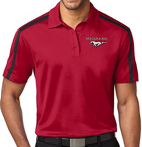 Mustang Black Shirt (Mens Ford MUSTANG POCKET Colorblock Stripe Polo Shirt (Pocket Print) , 2XL Red/Black)