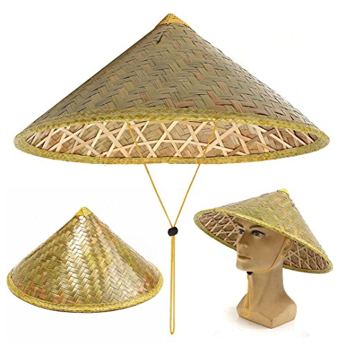 Hat Straw Rice (Chinese Oriental Vietnamese Coolie Straw Bamboo Sun Hat Farmer Fishing Rice Hat)
