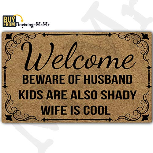 (MsMr Funny Doormat Entrance Floor Mat Welcome Beware of Husband Kids are Also Shady Wife is Cool Door Mat Welcome Mat Home Doormat Indoor Outdoor Decor Doormat Non-Slip Rubber Backing)