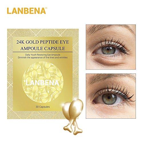 Anti-Aging Eye Serum Beauty and Skin Care Capsule 24K Gold Peptide Wrinkles Eye Ampoule Capsule Eye Serum Fine Lines Dark Circle Eye Patches- 30 capsules by LANBENA (Image #1)