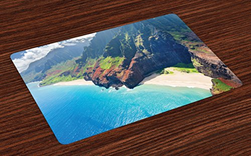 Ambesonne Hawaiian Place Mats Set of 4, Na Pali Coast on Kauai Island on Hawaii Sunny Day Seaside Mountain Skyline, Washable Fabric Placemats for Dining Room Kitchen Table Decor, Blue (Mat Green Island Decor)