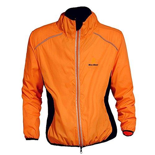 WOLFBIKE Cycling Jacket Jersey Long Sleeve Wind Coat, Color: Orange, Size: XXXL