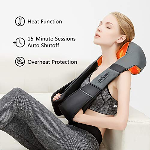 Medcursor Neck and Back Massager with Heat, 3D Shiatsu Deep Tissue Kneading Massage Pillow for Shoulder, Leg, Body Muscle Pain Relief, Home, Office, and Car Use