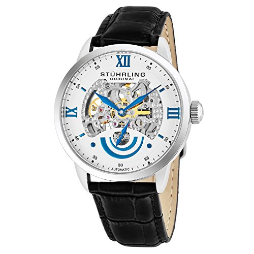 Stuhrling Original Men's 574.01 Executive II Automatic Skeleton Watch With Black Leather Band ()