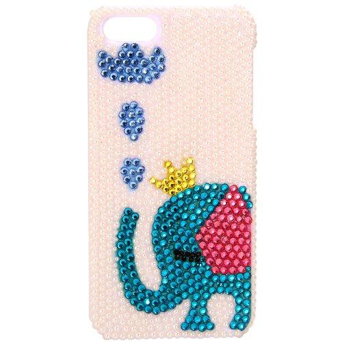 JewelryWe Blau Elefant Bling Handy Case Schutzhülle Tasche Hülle mit handgefertigten Luxus Bunten Strass für Apple Iphone 5/5S