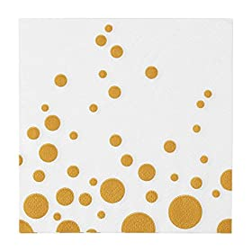 100 White Napkins with Gold Dots