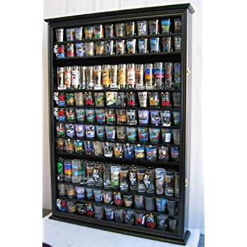 Large 144 Shot Glass Display Case Holder Cabinet Shadow Box, Hinged Door,  Solid Wood