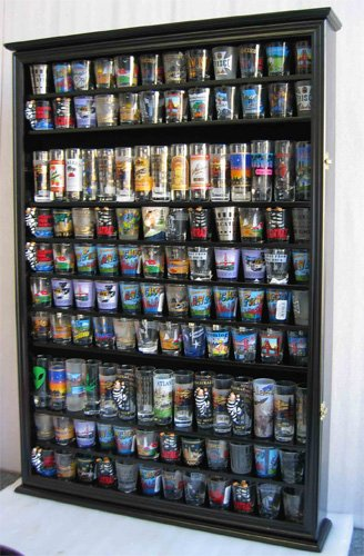 large 144 shot glass display case holder cabinet shadow box hinged door solid wood