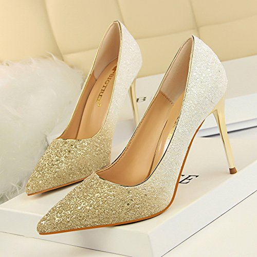 crystal fine 37 a high heeled gradient shoes female with Silver shoes marriage shoes single Xue leather white mother Qiqi tip with 8zwqO