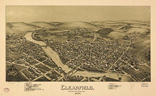 Pennsylvania Antique Map (1895 18 x 23 Old Vintage Antique Map of Clearfield, Clearfield County, Pennsylvania. 1895. Professional Reprint a2397)