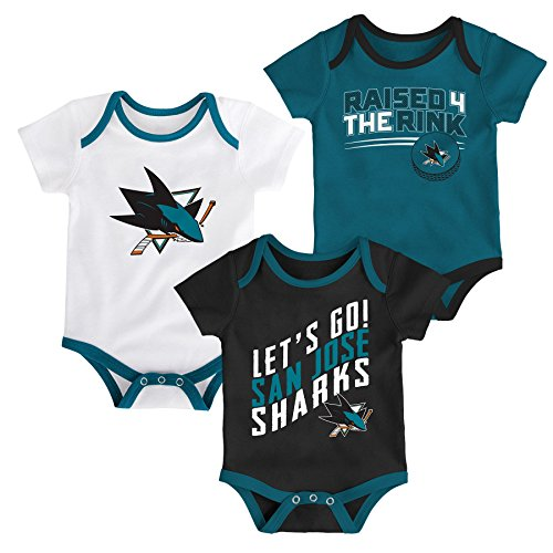 NHL San Jose Sharks Newborn & Infant Power Play Onesie Set (3 Pack), 6-9 Months, White (Power Sharks)