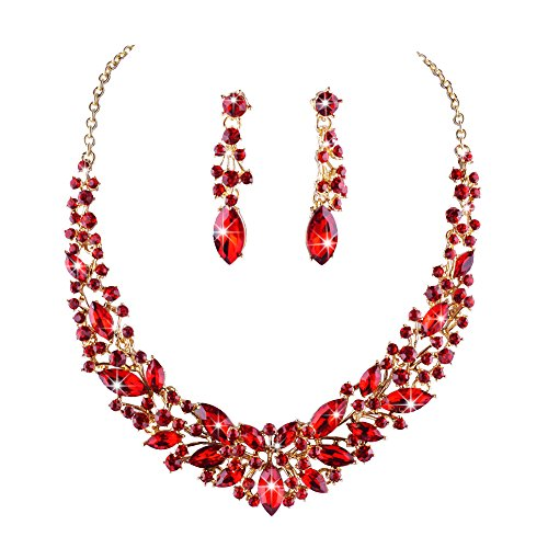 Youfir Austrian Crystal Rhinestone Bridal Wedding Necklace and Earrings Jewelry Sets for Women(Red)