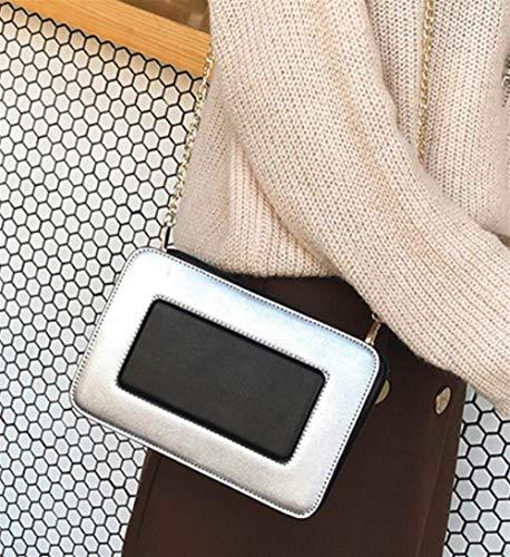 Bandoulière Enveloppe Épaule Main Simple À Sac argent Colorblock D'embrayage Shanzwh Une Style Vintage xv5qanc0w