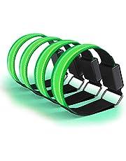 Calayu 4 stuks led-armband, oplaadbaar, USB-reflecterende band, plakband, lichtband, led-armbanden, lichtband voor hardlopen, joggen, fietsen, wandelen met de hond