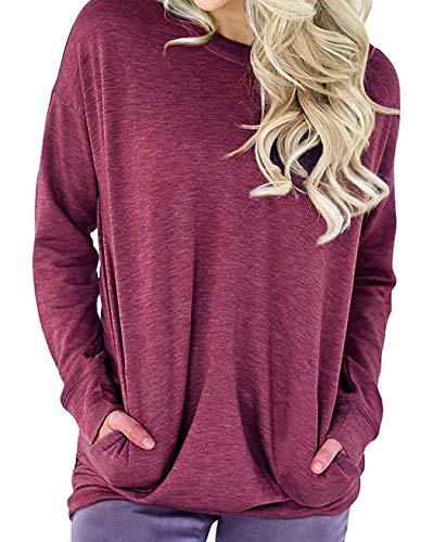 lymanchi Women Round Neck Sweatshirts Long Sleeve Lightweight Loose T Shirt Tops Fuchsia Rose 2X ()