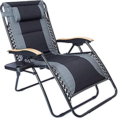 LUCKYBERRY Oversize XL Padded Zero Gravity Lounge Chair Grey Wider Armrest Adjustable Recliner