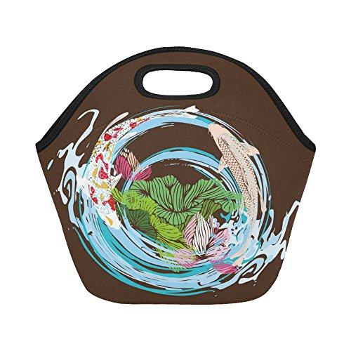 InterestPrint Koi Fish Painting Lotus Reusable Insulated Neoprene Lunch Tote Bag Cooler 11.93