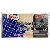 (Pack of 48, 288Ct) UFO Sponges & Scrubbers Cellulose Multi Purpose Sponge Multi-Pack Assorted, 3x4.5in. 6pk