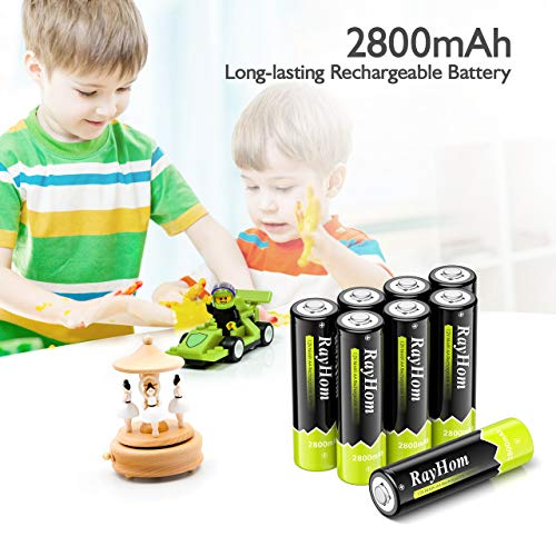 RayHom Rechargeable AA Batteries with Charger - 8 Pack of 2800mAh High Capacity Low Self Discharge Ni-MH Double A Batteries with 8 Bay Battery Charger (Independent Slot)