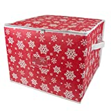 DII Non-Woven, Holiday Storage Bin Organizer For Ornaments with Dividers (Holds 75 Ball Decorations) - Snowflake, Large