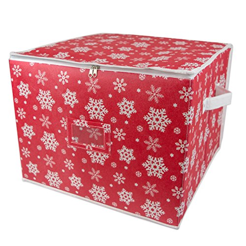 dii holiday ornament storage bin with dividers separators to protect fragile christmas tree decorations holds 75 ball decorations snowflake large