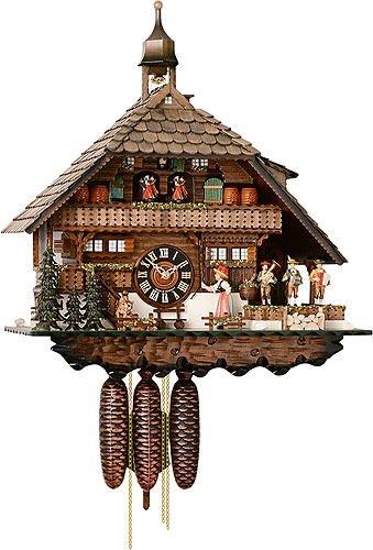 Alemán Reloj de cuco - estilo Chalet - mecanismo con cuerda para 8 días - 55 cm - Auténtico reloj de cuco del bosque negro - de Hönes: Amazon.es: Hogar