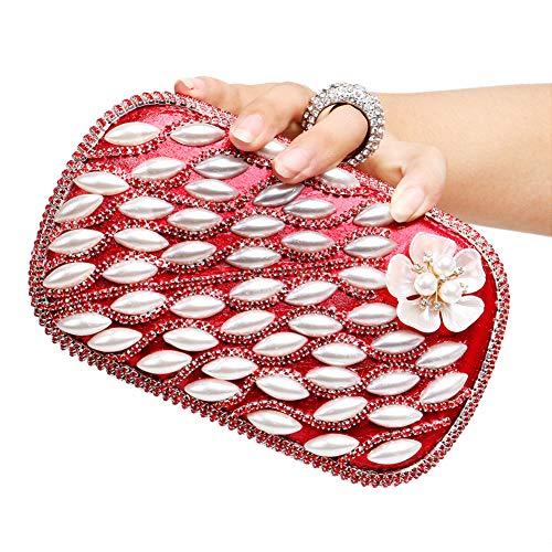 Bourse Mariage Sac pour Maquillage Main Fête Bal Bandouliere Pochette Chaîne Clutch Sac Red à Soirée Femme xOawwT0