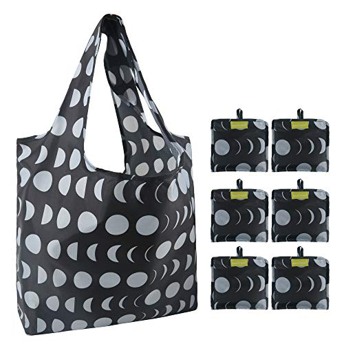 Shopping Bags Reusable Grocery Bags 6 Pack Cute Moon Cycle Gift Fashion Tote Bags with Pocket 50LBS Foldable Bags Waterproof Durable Washable Lightweight