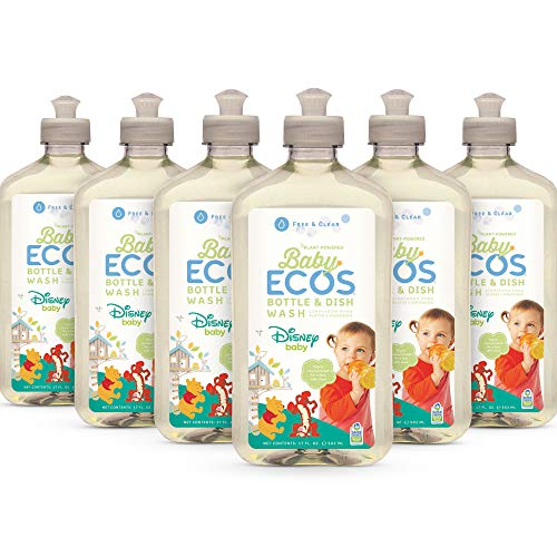 Earth Friendly Products Ecos Disney Baby Bottle Dish Soap Wash, Free & Clear, Hypoallergenic, 17Oz (Pack of 6), 6 Count