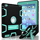 iPad Case, iPad 2/3/4 Case, HAOCOO [Youth Series] [Hot Fashion Colors] Three Layer Armor Defender Shockproof Rugged Hybrid Kickstand Protective Case for iPad 2/3/4(Black with Aqua)