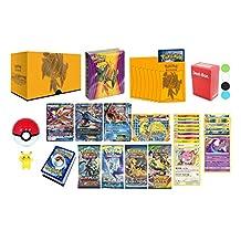 Pokemon Cards Premium Collection: 1 GX, 1 EX, 1 Mega EX, 1 Break Evolution, 6 Holo Foils, 10 Rares 120HP+, 4 Booster Packs, Mini Album, 65 Elite Sleeves, Deck Box, Pokeball, Figure and Bonus
