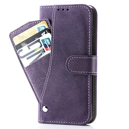 Galaxy J2 pro 2018 Case,Phone Cases Wallet Leather with Credit Card Holder Slim Rugged Kickstand Stand Flip Folio Magnetic Protective Cover for Samsung Galaxy J2 pro 2018 Women Girls Men Purple