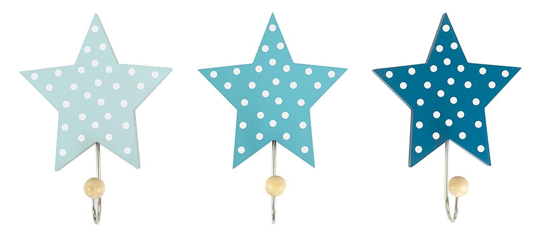 Children's Coat Hooks Stars Blue (Set of 3) JaBaDaBaDo