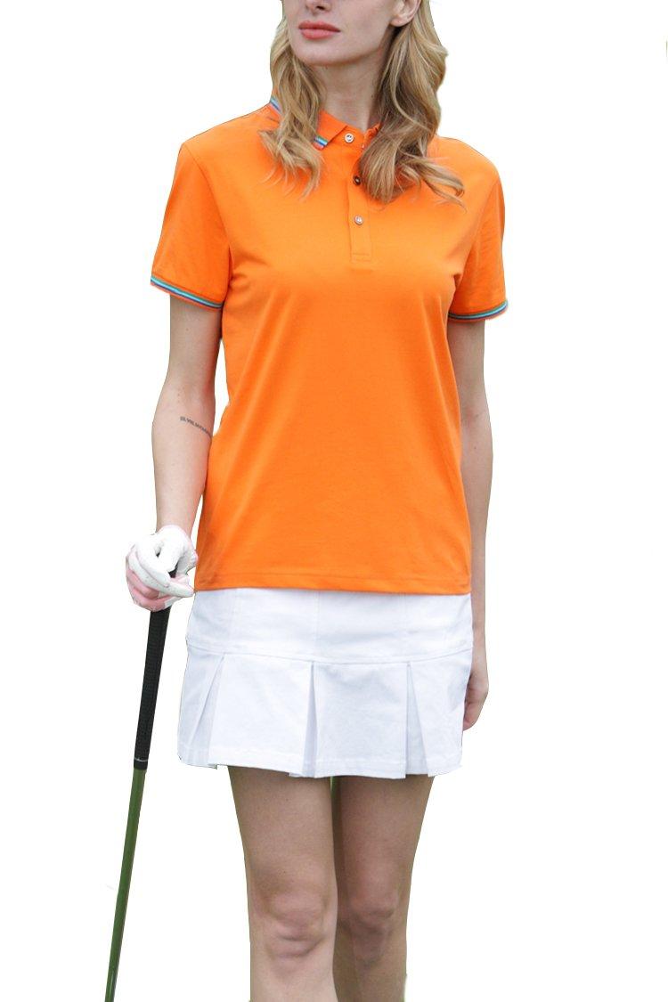 Mitario Femiego Women Classic Stripe Collar Slim Fit Short Sleeves Golf Performance Polo Shirt Orange XXS