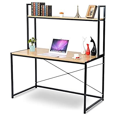 "WOLTU 2-Tier Shelves Modern Home Office Desk Space Saving Computer Book Desk for Corner Use with Wooden - Material:made of laminated particleboard, fixed with sturdy black metal wire. Computer Desk Size:47.3""*23.6""*55.1"".Enough desk surface to put books and computers as a corner desk, save your space. Workable: can be used as business office workstation, meeting desk, home desk, computer desk,gaming notebook desk,study desk for kids etc. - writing-desks, living-room-furniture, living-room - 51Pr5JqH4YL. SS400  -"