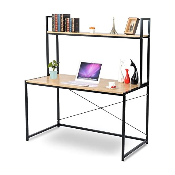 "WOLTU 2-Tier Shelves Modern Home Office Desk Space Saving Computer Book Desk for Corner Use with Wooden - Material:made of laminated particleboard, fixed with sturdy black metal wire. Computer Desk Size:47.3""*23.6""*55.1"".Enough desk surface to put books and computers as a corner desk, save your space. Workable: can be used as business office workstation, meeting desk, home desk, computer desk,gaming notebook desk,study desk for kids etc. - writing-desks, living-room-furniture, living-room - 51Pr5JqH4YL. SS570  -"