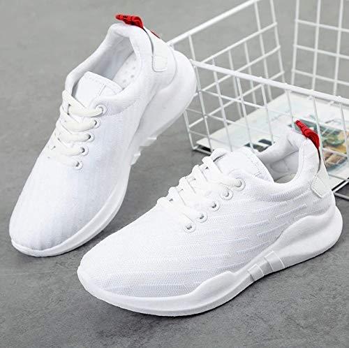 Sneaker Ysfu Leggero Aperta Donna Scarpe Con Mesh Da Zeppe Bianche Smorzamento Traspiranti In Sportive Pizzo All'aria Casual qdwTfrgd