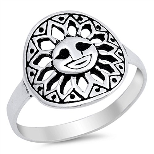 Tribal Sun Sterling Silver Ring (Sterling Silver Tribal Smiling Sun Ring (Size 5 - 10) - 6)