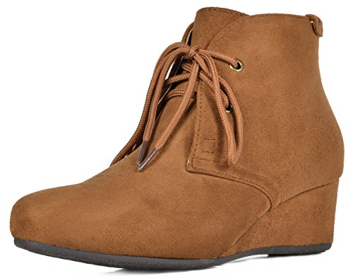 DREAM PAIRS Women's Ramona Camel Low Wedge Heel Ankle Bootie Size 9.5 M US