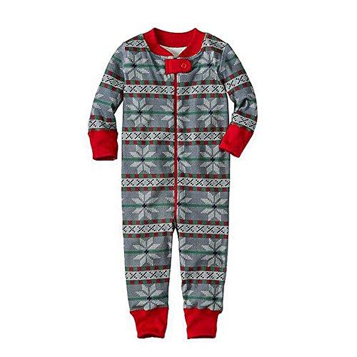 Baby Nightwear neve per Outfits Hzjundasi Famiglia di da Papà Sets Pigiama accoppiamento Stampare notte Cotone lunga Natale Indumenti Manica Mamma bambino Fiocco v1Fwgq