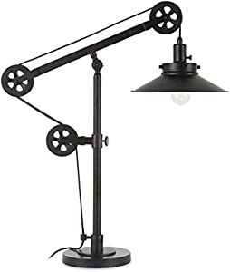 Henn&Hart TL0156 Modern Industrial, Bedside Contemporary Blackened Bronze, with Metal Nightstand, Bedroom, Living Room, Office, Study Table Lamp, Black/Wide Brim Shade