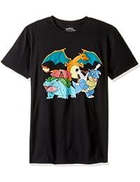 Pokemon Men's Group Shot Charizard, Venusaur, Blastoise Short Sleeve Tee