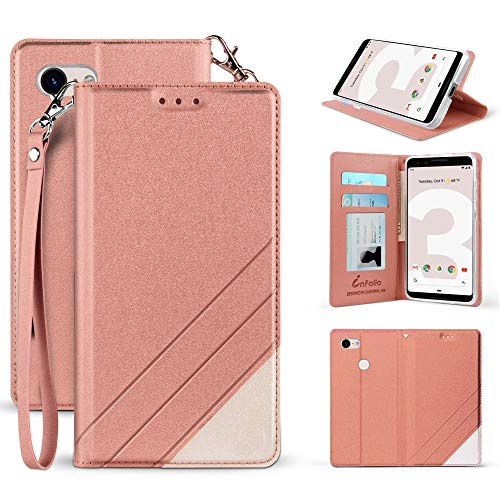 Made for Google Pixel 3 XL Case 2018 Premium PU Leather Two Tone Folio Credit Card Slot Wallet Fold Cover with Wrist Strap, Magnetic Closure & Free Emoji fit [Pixel - Ring Two Diamonds Tone Ultra