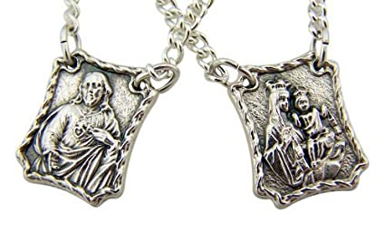 Silver Tone Our Lady of Mt Carmel with Sacred Heart Scapular Medals...