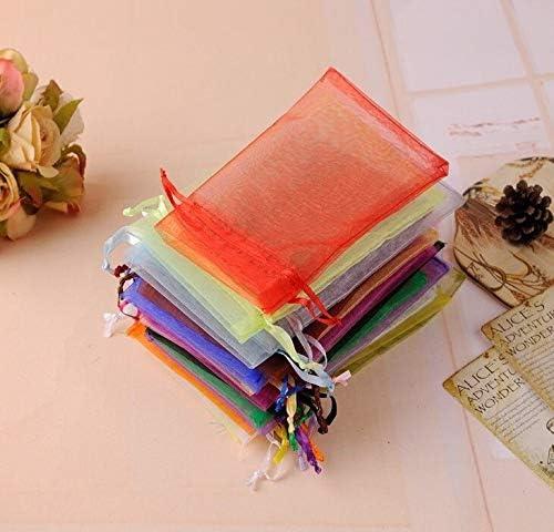 PPSM 誕生日パーティーギフトボックスラッピング包装50pcsの7x9cm 9x12cm 10x15cm 13x18cm 15x20cm透明オーガンザバッグ結婚式キャンディボックス (Color : Mint Green, Gift Bag Size : 7x9cm)