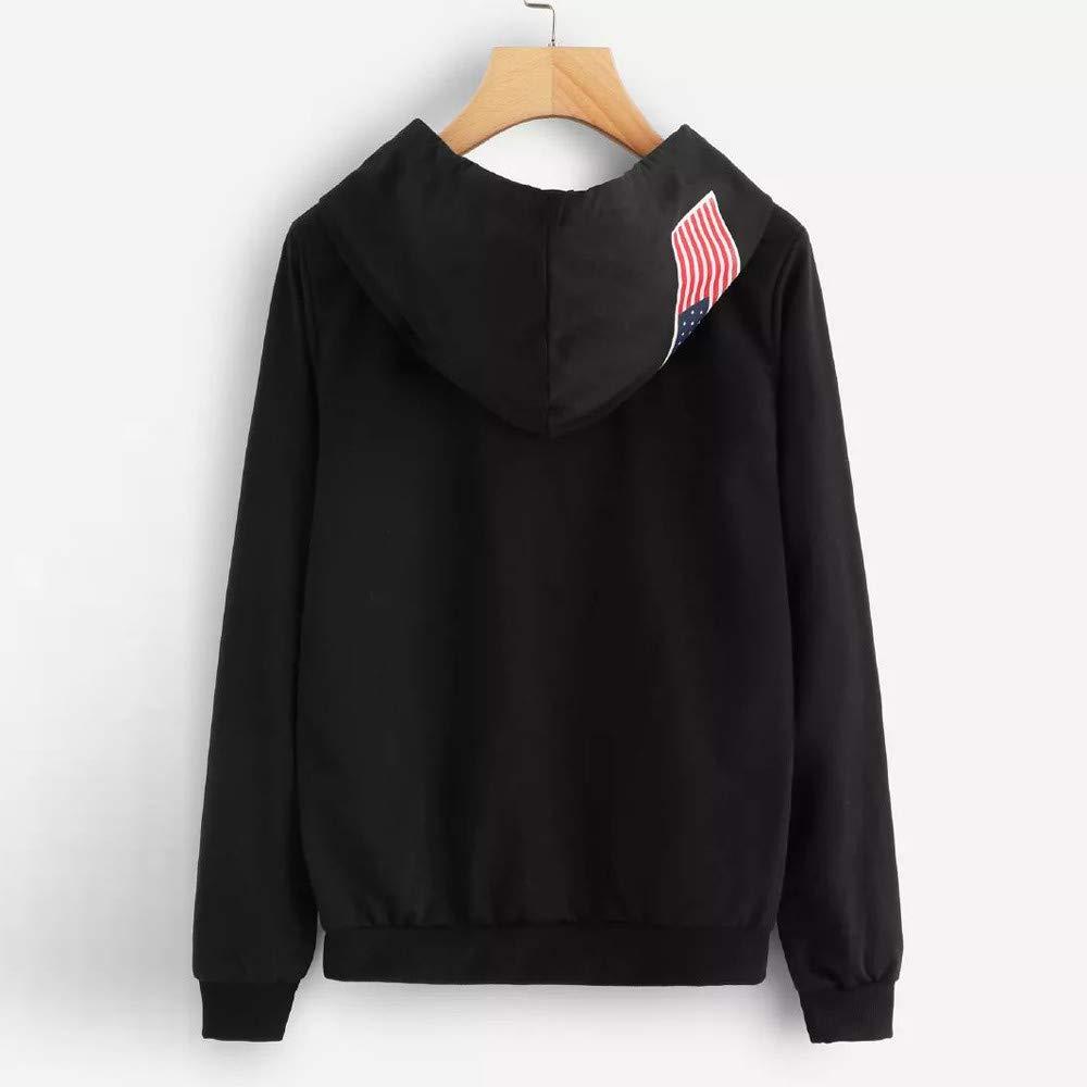 EKIMI Letter Flag Printed Long Sleeve Girls Sweatshirt Hoodies for Women