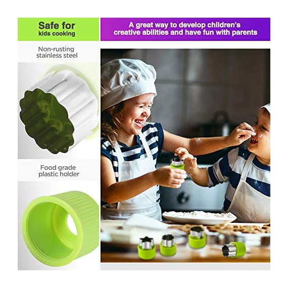 Gimars Large + Small Stainless Steel Cookie & Vegetable & Fruit Cutters Shapes Sets, Mini Cookie Stamp Mold, Sandwich Cutters for Kids Baking, Bento Box and Food Decoration Tools for Kitchen 4 ? 16 PCS 2 Size (8 large : 1.8 in x 2.1 in & 8 small : 1.2 in x 1.65 in.) ¡°One cookie to one kid¡± bite size deep shape mini cookie cutters for choices - The large cookie cutters are perfect to make bite size mini cookie,spritz cookies, decorations for cake, pie crust, gum paste work, craft projects, fondant cutouts,Pastry, mini-tart, etc. The small cookie cutters are great to cut shapes for kids lunch bento box, fruit and vegetable shapes,fruit platter, drinks garnishes etc ? Thicker non rusting stainless steel cookie cutters with fine welding seams to cut food clean without bending or falling apart - Thicker high quality package of food grade stainless steel and plastic silica gel material, not contain BPA. These kids mini cookie cutters are built to last for a long time and does not rust after cleaning. Sturdy and sharp to cut shapes clean with ease. These tiny cookie cutters shapes are very easy to use ? Thicker non rusting stainless steel cookie cutters with fine welding seams to cut food clean without bending or falling apart - Thicker high quality package of food grade stainless steel and plastic silica gel material, not contain BPA. These kids mini cookie cutters are built to last for a long time and does not rust after cleaning. Sturdy and sharp to cut shapes clean with ease. These tiny cookie cutters shapes are very easy to use