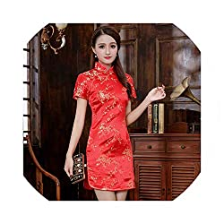 Mini Cheongsam Chinese Women Evening Party Dress Handmade Button Qipao Performance Clothes,Red,S