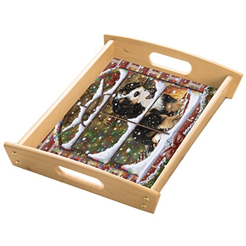 Please Come Home For Christmas Bernedoodle Sitting In Window Wood Serving Tray with Handles Natural